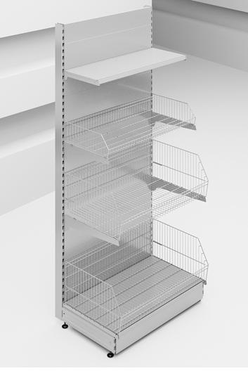 Стеллаж пристенный с корзинами Stahler для конфет серии Praktish 2300 x 1000 x 570 на сайте Белторгхолод