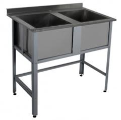Моечная ванна с двумя ёмкостями и бортом Rada ВМ2-14/7Б
