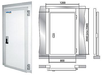 Дверной блок с распашной дверью POLAIR 120-204-80 на сайте Белторгхолод