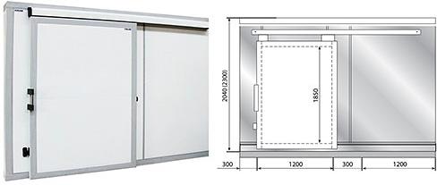 Дверной блок с откатной дверью POLAIR 220 см-180-204- 80 на сайте Белторгхолод